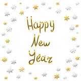 2016 Happy New Year gold card, greeting, decoration,. Art Stock Image