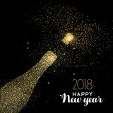 Happy New Year party drink gold glitter dust card. Happy new year 2018 gold champagne bottle celebration made of realistic golden glitter dust. Ideal for holiday Royalty Free Stock Images