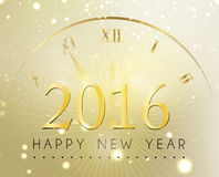 Happy new year and gold with clock background Stock Image