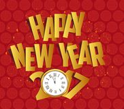 Happy new year 2017 gold clock. Oriental Chinese Background.  Royalty Free Stock Images