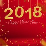 2018 Happy new year gold color and confetti hanging at red studi. O room,Hoilday greeting card,Mock up for display or montage of product  3d rendering Royalty Free Stock Photos