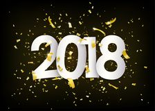 2018 happy new year. Gold confetti, tiny paper pieces on dark black background. 2018 happy new year. Gold confetti, tinsel, tiny paper pieces explosion on dark Royalty Free Stock Images