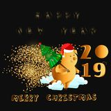 Happy New Year. Gold cute funny pig. Chinese symbol of the 2019 year. Excellent festive gift card for your design. Vector illustra stock illustration