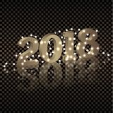 Happy New year 2018. Gold 3D numbers new year illumination garland.  Royalty Free Stock Photos