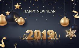 Happy New Year 2019. Gold 3D-numbers with ribbons and confetti on white background. Stock Photo