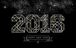 Happy new year 2016 gold deco geometry outline. Happy New Year greeting card design in art deco outline style, gold and white 2016 sign with hipster label. Ideal Royalty Free Stock Photo