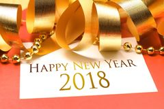 Happy new year 2018 with gold decoration. Stock Photo