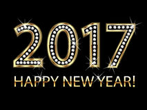 Happy new year 2017 gold diamonds Royalty Free Stock Photos