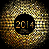 Happy New Year 2014 - gold disco lights frame Stock Photography