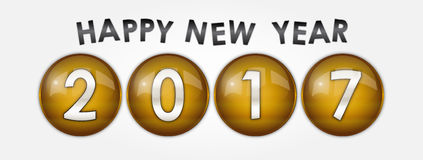 Happy New Year 2017 with Gold Effect. Vector Illustration - Unique Royalty Free Stock Photography