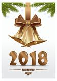 Happy New Year. Gold figures 2018. Happy New Year. Christmas design. Vector Christmas card Royalty Free Stock Images