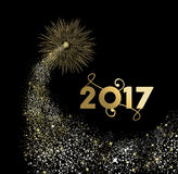 Happy new year 2017 gold firework design Royalty Free Stock Photography