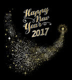 Happy New Year 2017 gold firework illustration. Happy New Year 2017 gold design with firework explosion illustration. Ideal for holiday greeting card or poster Stock Photography