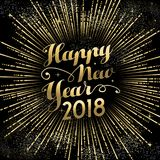 Happy New Year 2018 gold firework sky card. Happy New Year 2018 text quote greeting card with gold firework explosion in night sky. EPS10 vector Royalty Free Stock Photo