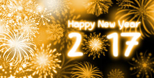 Happy New Year 2017. Gold fireworks with Happy New Year 2017 Stock Photos