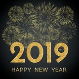 2019 Happy New Year. Gold fireworks on dark background. New Year. 2019 greeting card. Background with golden numbers and fireworks. Vector illustration stock illustration