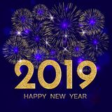 2019 Happy New Year. Gold fireworks on dark blue background. New. Year 2019 greeting card. Background with golden numbers and fireworks. Vector illustration stock illustration