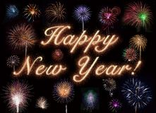Happy New Year In Gold Fireworks royalty free stock photography