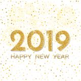 2019 Happy New Year. Gold fireworks on light background. New Yea. R 2019 greeting card. Background with golden numbers, stars and fireworks. Vector illustration stock illustration