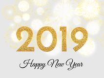 2019 Happy New Year. Gold fireworks on light background. New Yea. R 2019 greeting card. Background with golden numbers and fireworks. Vector illustration vector illustration