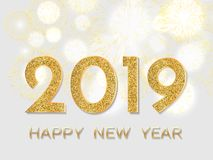2019 Happy New Year. Gold fireworks on light background. New Yea