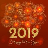 2019 Happy New Year. Gold fireworks on red background. New Year. 2019 greeting card. Background with golden numbers and fireworks. Vector illustration vector illustration