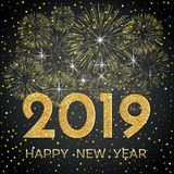 2019 Happy New Year. Gold fireworks and stars on dark background. New Year 2019 greeting card. Background with golden numbers, stars and fireworks. Vector vector illustration