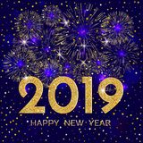 2019 Happy New Year. Gold fireworks and stars on dark blue backg. Round. New Year 2019 greeting card. Background with golden numbers, stars and fireworks. Vector vector illustration