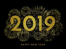2019 Happy New Year. Gold fireworks and text on dark background. New Year 2019 greeting card. Background with golden numbers and fireworks. Vector illustration vector illustration