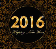 Happy New Year 2016 - gold floral pattern with 2016 typography card. Happy New Year 2016 - gold floral pattern with 2016 typography - vector eps 10 vector illustration