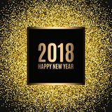 Happy new year 2018. Gold glitter New Year. Gold background for flyer, banner, web, header, poster, sign. Abstract background with frame for text, quote Stock Photo