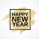 Happy New Year on gold glitter background. Happy New Year on the gold paint glitter shine background. Gold background for flyer, poster, banner, web, header Stock Photography
