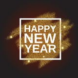 Happy New Year on gold glitter background. Happy New Year on the gold paint glitter shine background. Gold background for flyer, poster, banner, web, header Royalty Free Stock Photo