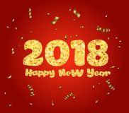 Happy new year. Gold glitter 2018. Golden text and confetti isolated on red background.  royalty free illustration