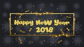 Happy new year. Gold glitter 2018. Golden text isolated on black background.  stock illustration