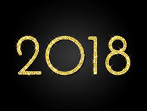 2018 Happy New Year greeting card gold glitter background vector numbers design Royalty Free Stock Photos