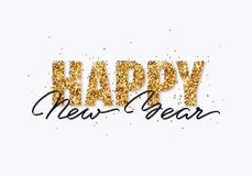 Happy New Year gold glitter greeting card. Happy New Year gold glitter design for greeting card, festive poster, website header. Christmas lettering with stock illustration
