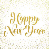 Happy New Year 2017 gold glitter greeting card Stock Image