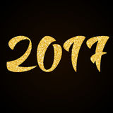 Happy New Year 2017 - gold glitter hand lettering. On black background greeting card stock illustration