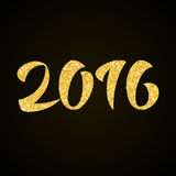 Happy New Year 2016  - gold glitter hand lettering. On black background greeting card Royalty Free Stock Photography