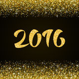 Happy New Year 2016 - gold glitter hand lettering. On black background greeting card vector illustration