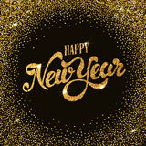 Happy New Year gold glitter lettering with frame from golden dot. S. Design element for greeting card, calendar, poster. Vector illustration royalty free illustration