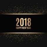 Happy new year 2018. Gold glitter New Year. Gold background for flyer, banner, web, header, poster, sign. Abstract background with frame for text, quote Royalty Free Stock Images