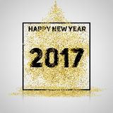 Happy new year 2017. Gold glitter New Year. Gold background for. Flyer, banner, web, header, poster, sign. Abstract background with frame for text, quote stock illustration