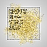 Happy new year 2017. Gold glitter New Year. Gold background for. Flyer, banner, web, header, poster, sign. Abstract background with frame for text, quote Stock Image
