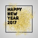 Happy new year 2017. Gold glitter New Year. Gold background for. Flyer, banner, web, header, poster, sign. Abstract background with frame for text, quote vector illustration