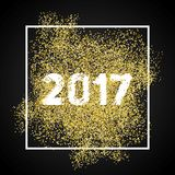 Happy new year 2017. Gold glitter New Year. Gold background for. Flyer, banner, web, header, poster, sign. Abstract background for text, quote. Dark background stock illustration