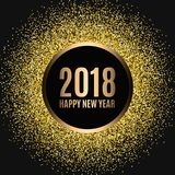 Happy new year 2018. Gold glitter New Year. Gold background for flyer, banner, web, header, poster, sign. Abstract background with frame for text, quote Stock Image