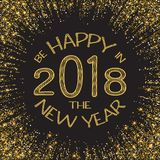 Happy new year 2018. Gold glitter New Year. Gold background for flyer, poster, sign, banner, web, header. Abstract. Golden background for text, type quote Stock Photos