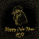 Happy New Year 2017. Gold glitter Rooster cock Royalty Free Stock Photography